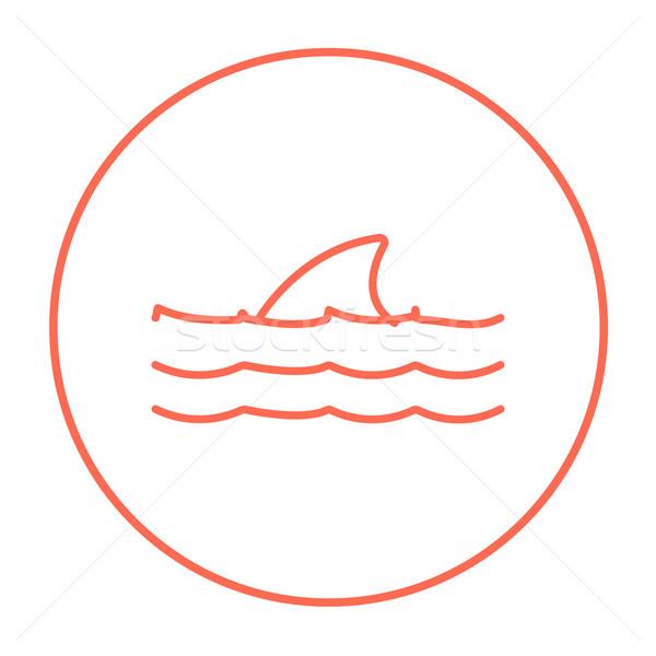 Zdjęcia stock: Rekina · płetwa · powyżej · wody · line · ikona