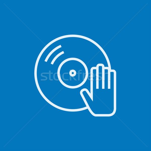 Lemez kéz vonal ikon sarkok háló Stock fotó © RAStudio