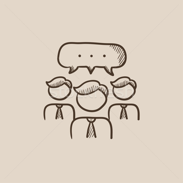 People with speech square above their heads sketch icon. Stock photo © RAStudio