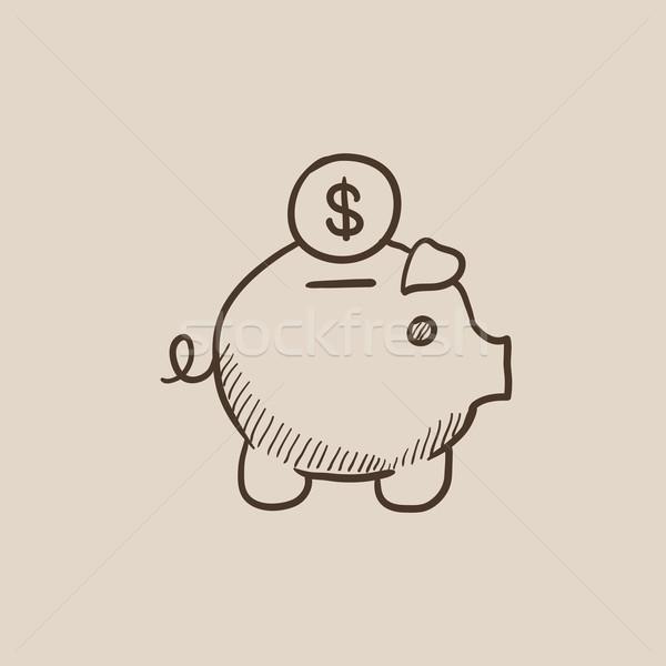 Piggy bank with dollar coin sketch icon. Stock photo © RAStudio