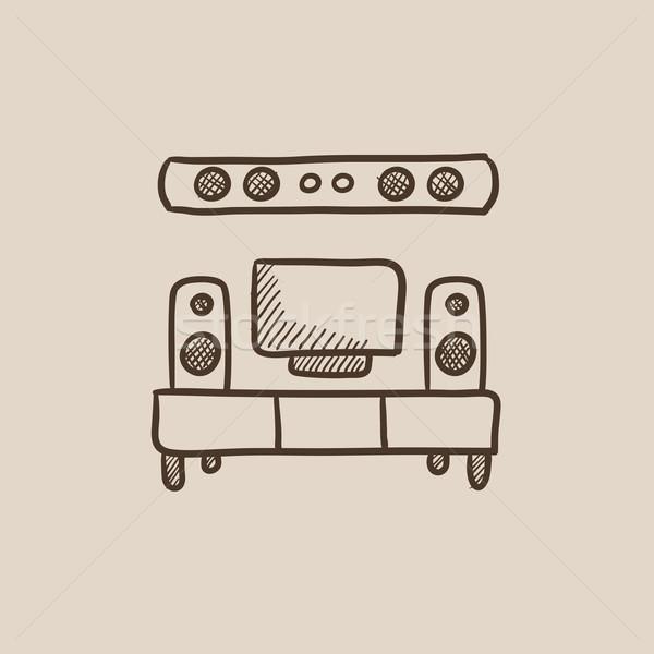 テレビ フラットスクリーン ホーム 劇場 スケッチ アイコン ストックフォト © RAStudio