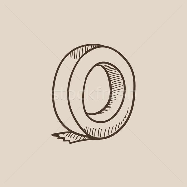 Zsemle ragasztószalag rajz ikon háló mobil Stock fotó © RAStudio