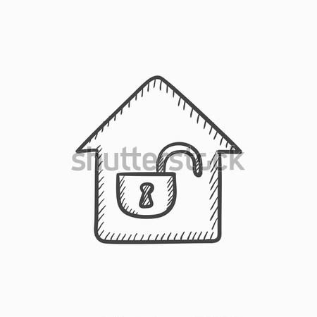 дома открытых блокировка эскиз икона веб Сток-фото © RAStudio