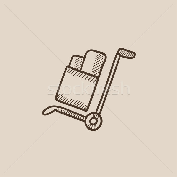 Shopping handling trolley sketch icon. Stock photo © RAStudio