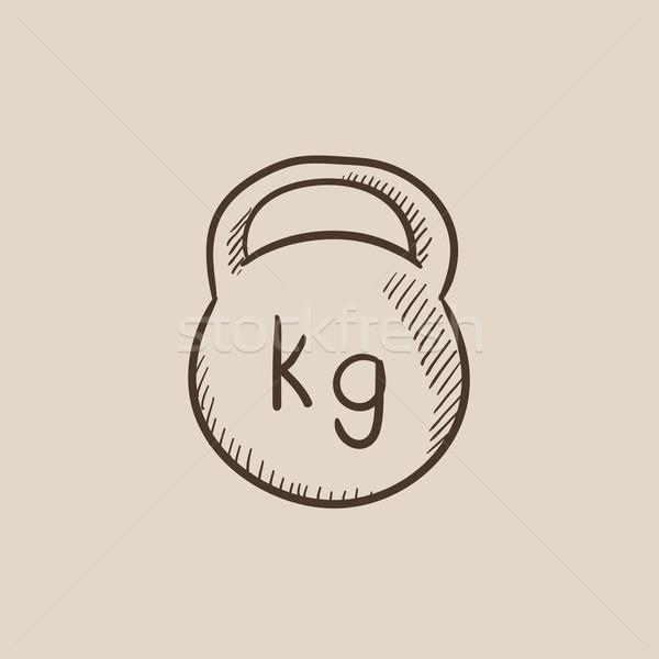 ストックフォト: ケトルベル · スケッチ · アイコン · ウェブ · 携帯 · インフォグラフィック