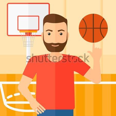 Kosárlabdázó labda ázsiai férfi kosárlabda ujj Stock fotó © RAStudio