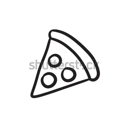 пиццы линия икона уголки веб мобильных Сток-фото © RAStudio