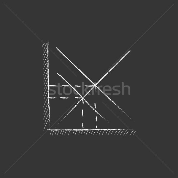 Mathematical graph. Drawn in chalk icon. Stock photo © RAStudio