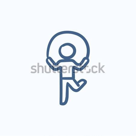 Man exercising with skipping rope. Drawn in chalk icon. Stock photo © RAStudio