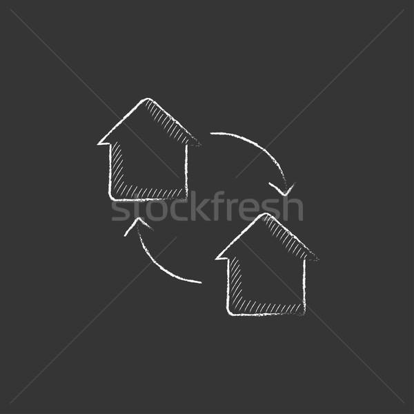 Ház csere rajzolt kréta ikon kézzel rajzolt Stock fotó © RAStudio