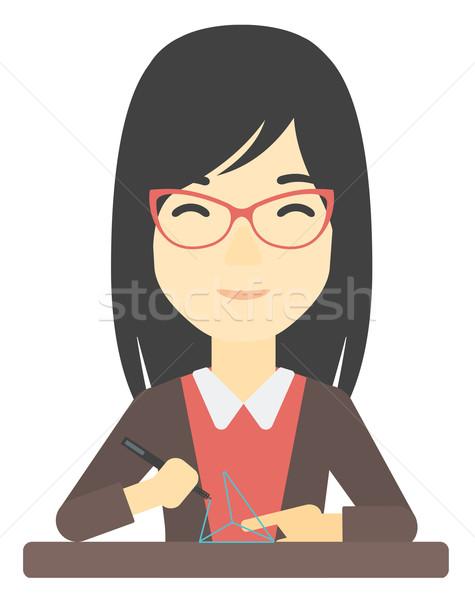Femme trois stylo asian modèle Photo stock © RAStudio
