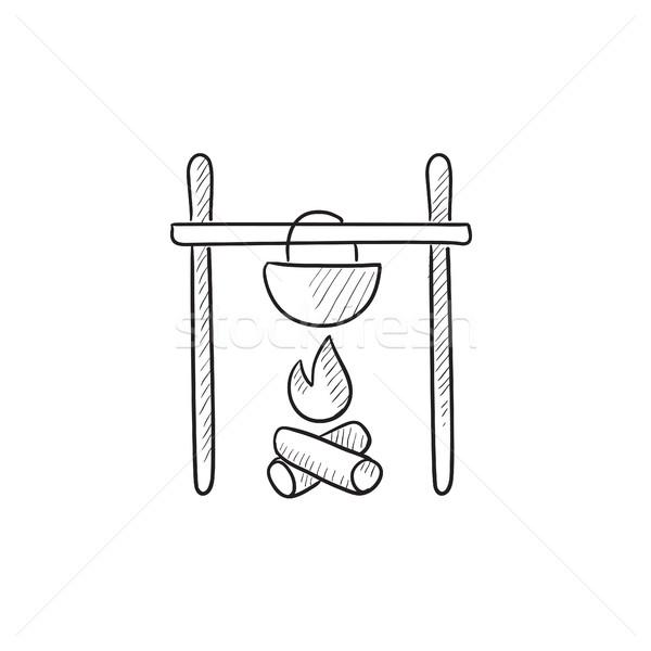Főzés üst tábortűz rajz ikon vektor Stock fotó © RAStudio