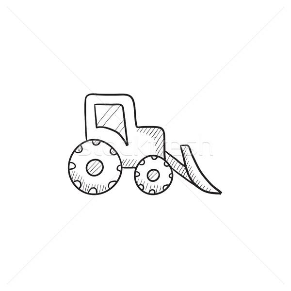 Buldózer rajz ikon vektor izolált kézzel rajzolt Stock fotó © RAStudio