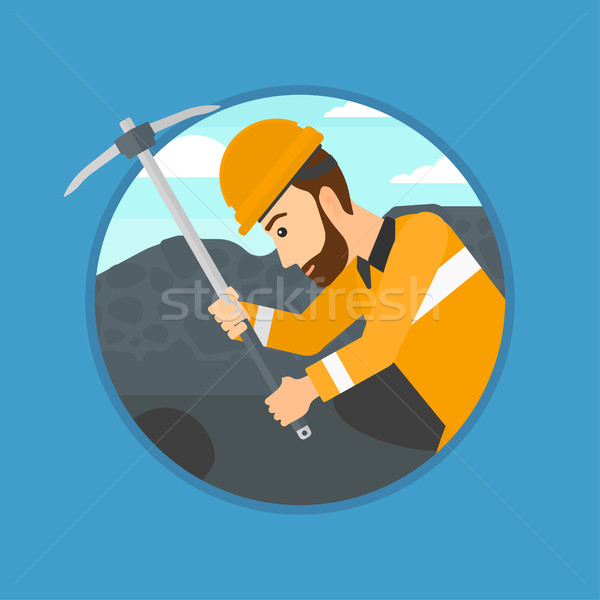 Miner working with pickaxe. Stock photo © RAStudio