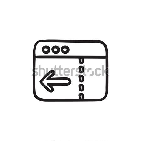 Böngésző ablak nyíl rajz ikon vektor Stock fotó © RAStudio