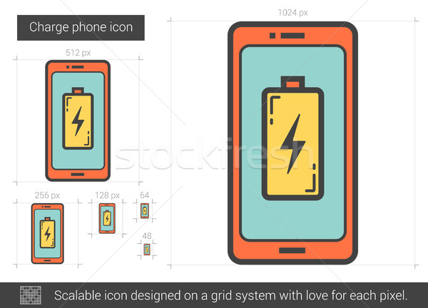 Stock photo: Charge phone line icon.