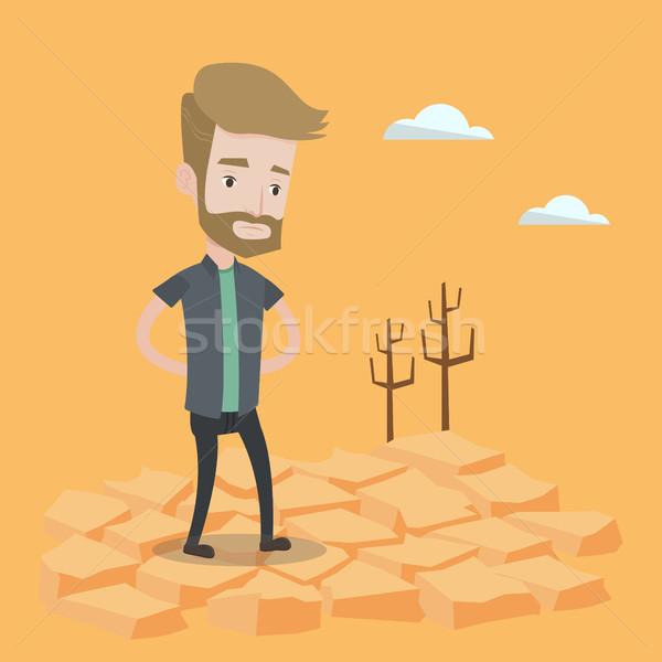 Szomorú férfi sivatag hipszter szakáll áll Stock fotó © RAStudio
