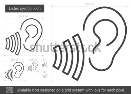 Listen symbol line icon. Stock photo © RAStudio