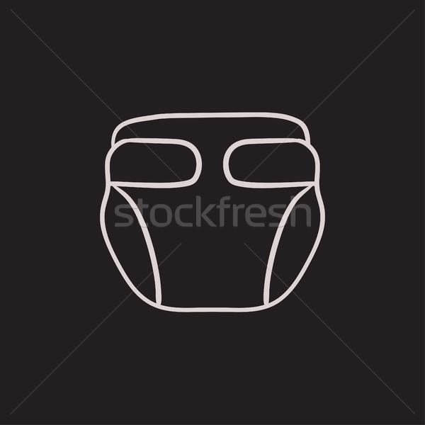 Baby luier schets icon vector geïsoleerd Stockfoto © RAStudio
