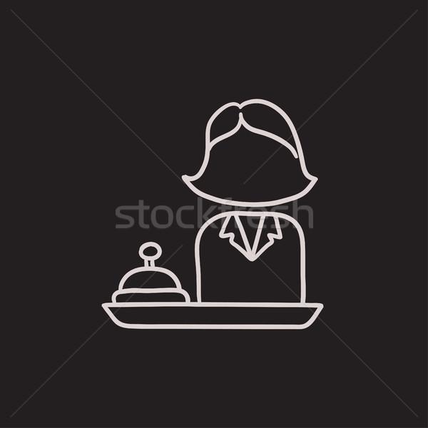 Vrouwelijke receptionist schets icon vector geïsoleerd Stockfoto © RAStudio