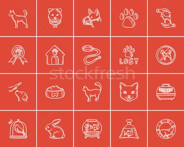Pets sketch icon set. Stock photo © RAStudio