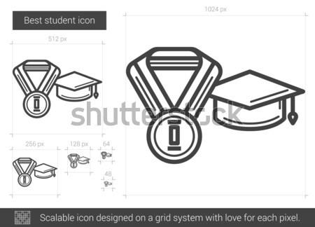 Сток-фото: лучший · студент · линия · икона · вектора · изолированный