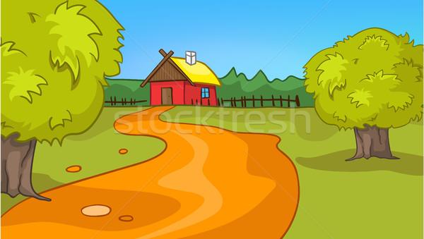 Cartoon background of countryside summer landscape Stock photo © RAStudio