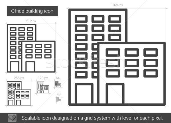 Edificio de oficinas línea icono vector aislado blanco Foto stock © RAStudio