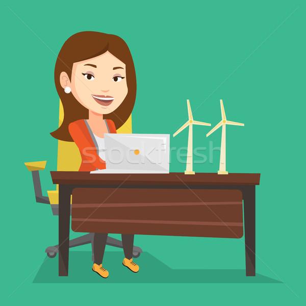 女性 作業 モデル 風力タービン 白人 ワーカー ストックフォト © RAStudio