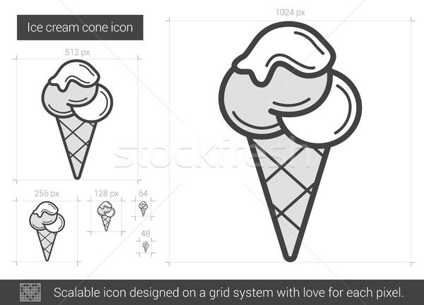 Cono gelato line icona vettore isolato bianco Foto d'archivio © RAStudio