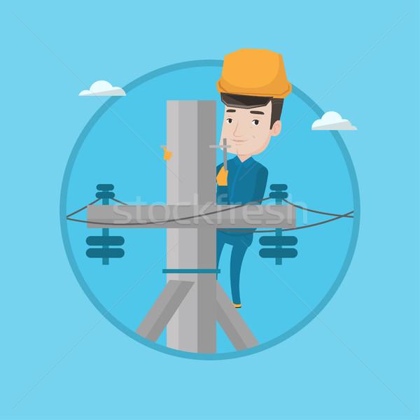 Elektryk pracy elektryczne moc słup pracy Zdjęcia stock © RAStudio