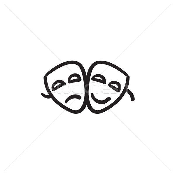 Stock photo: Two theatrical masks sketch icon.