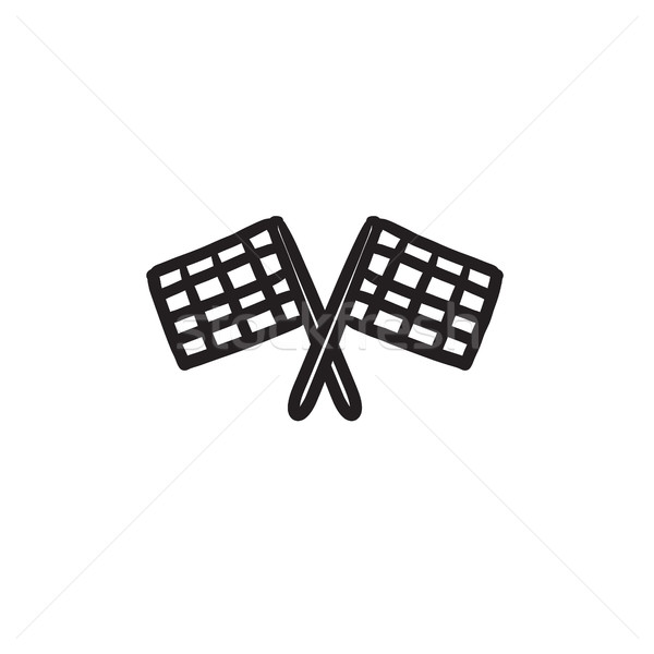 Two checkered flags sketch icon. Stock photo © RAStudio