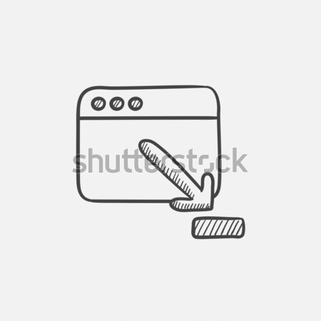 Browser window with download sign sketch icon. Stock photo © RAStudio