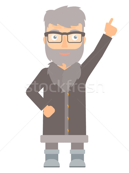 North man pointing up with finger. Stock photo © RAStudio