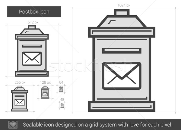 Stock fotó: Postaláda · vonal · ikon · vektor · izolált · fehér