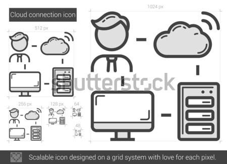 ストックフォト: 雲 · 接続 · 行 · アイコン · ベクトル · 孤立した