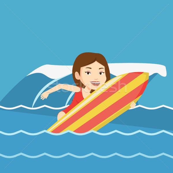 Happy surfer in action on a surf board. Stock photo © RAStudio