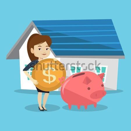 Man geld spaarvarken kopen huis asian Stockfoto © RAStudio
