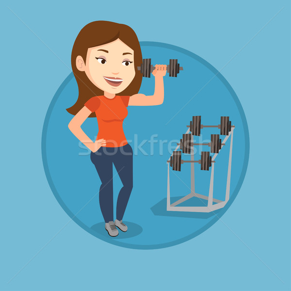 Woman lifting dumbbell vector illustration. Stock photo © RAStudio