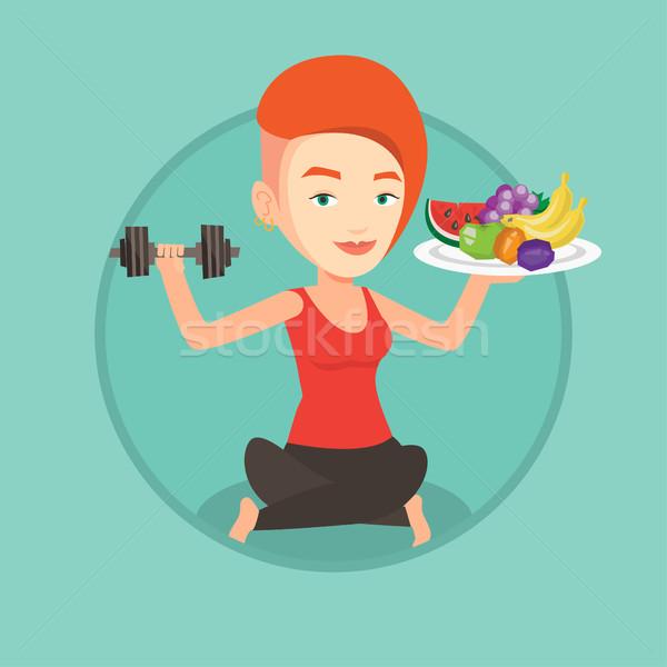 Zdrowych kobieta owoce sportsmenka Zdjęcia stock © RAStudio