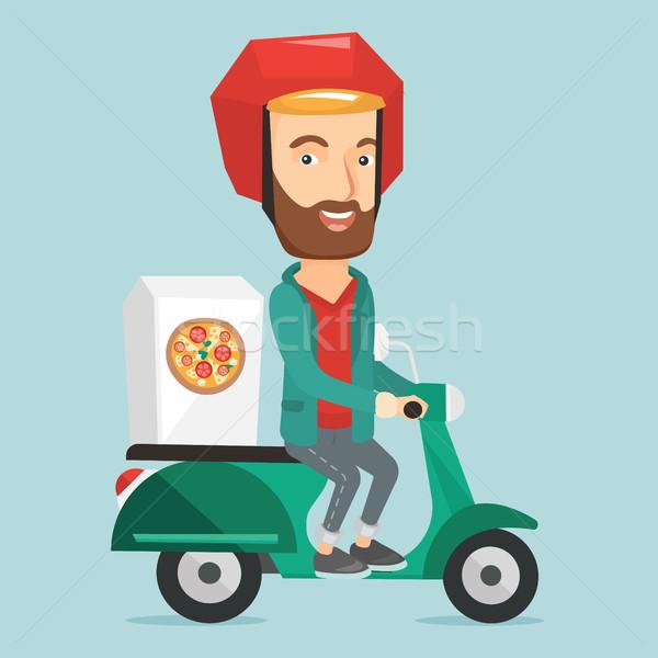 человека пиццы кавказский курьер вождения Сток-фото © RAStudio