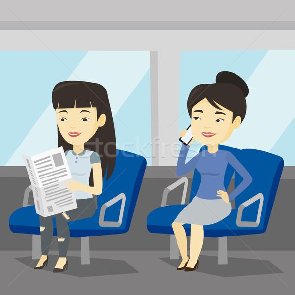 Mensen openbaar vervoer vrouw mobiele telefoon asian Stockfoto © RAStudio