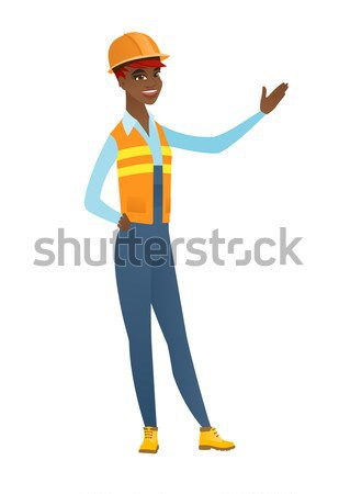 Farmer standing with raised arms up. Stock photo © RAStudio