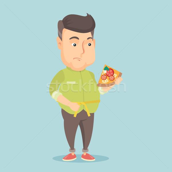 Férfi mér derék kövér kaukázusi szelet Stock fotó © RAStudio