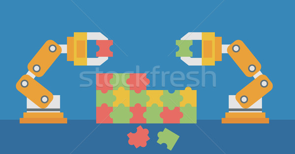 Two robotic arms building a colorful puzzle. Stock photo © RAStudio