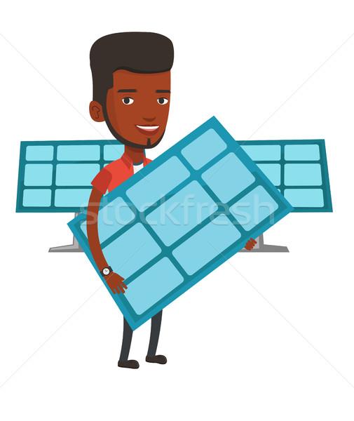 Homem trabalhador energia solar planta Foto stock © RAStudio