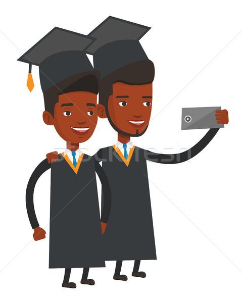 Diplomások készít érettségi mobiltelefon vektor terv Stock fotó © RAStudio