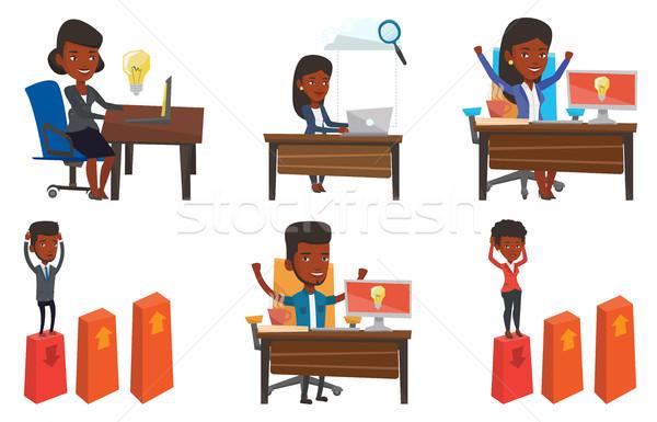 ベクトル セット ビジネス 女性 アイデア ストックフォト © RAStudio