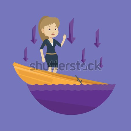 üzletasszony áll süllyed csónak fiatal kaukázusi Stock fotó © RAStudio